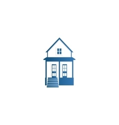 Isolated abstract blue color house contour logo vector image
