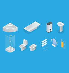 isometric set of bathroom furniture vector image