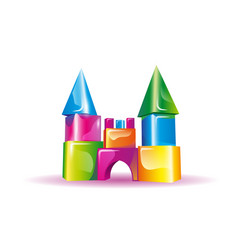 Jelly childrens castle from cubes vector
