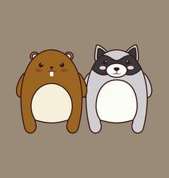 Kawaii couple of animals icon vector