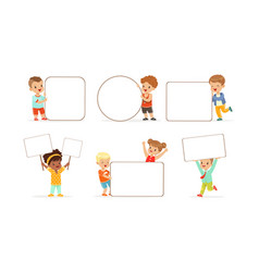 Kids holding blank banners collection adorable vector