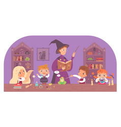 Kids in school of magic at class with professor vector