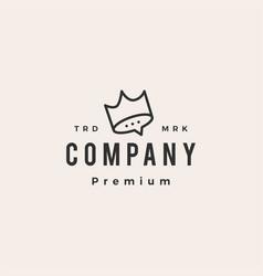 king crown talk chat social hipster vintage logo vector image