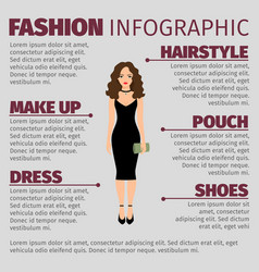 lady in black dress fashion infographic vector image