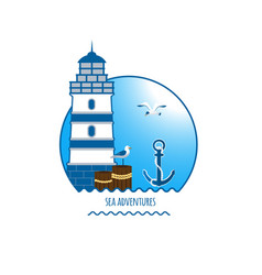Lighthouse emblem anchor and seagull vector