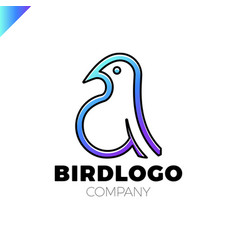 line art bird logotype design template colorful vector image