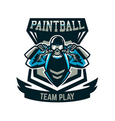 Logo emblem a person playing paintball holds two vector