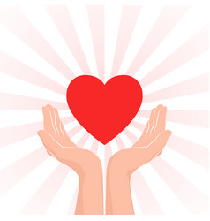 love care icon two hands with red heart and red vector image