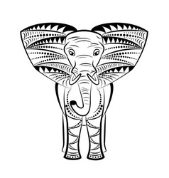 Mandala image of an elephant on a white vector