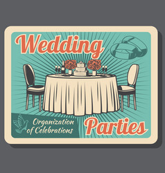 Marriage celebration wedding party organization vector