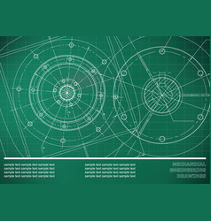Mechanical engineering drawings on a light green vector
