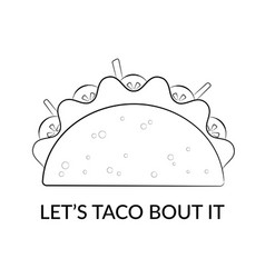 Mexican cuisine taco food silhouette sketch vector