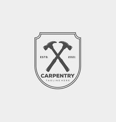 Minimalist carpentry logo template design simple vector