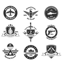 Monochrome military emblems set vector