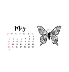 Monthly desk calendar template for month may vector