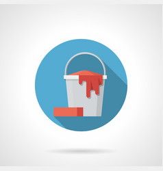 mopping bucket blue round icon vector image