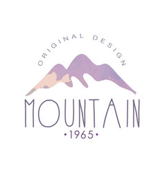 Mountain original design estd 1965 logo template vector