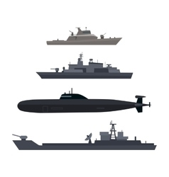Naval Ships Set Military Ship or Boat Used by Navy vector
