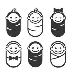 newborn baicon pictograph set on white vector image