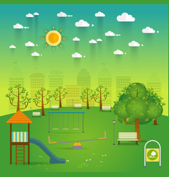 playground natural landscape in the flat stylea vector image