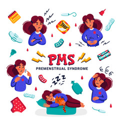 Pms set woman suffering from premenstrual vector
