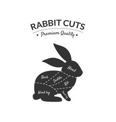 rabbit cuts butcher shop label premium quality vector image