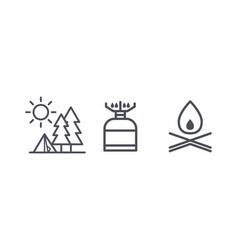 recreation and camping icons outdoor activity and vector image