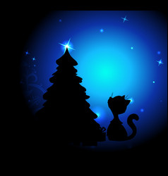 romantic christmas night with cute cat and christm vector image