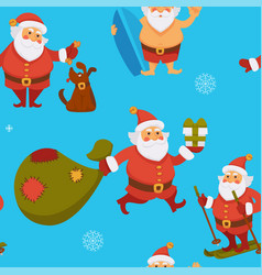 santa claus seamless pattern winter character vector image