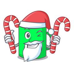 Santa with candy mug mascot cartoon style vector