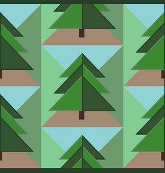 seamless pattern with firs ground and sky vector image