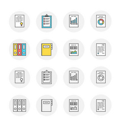 set of documents icons with outline and vector image