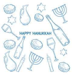 Set of happy hanukkah designed elements vector