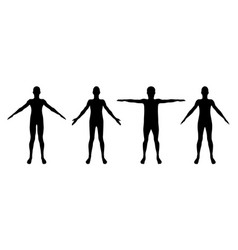 set of standing man or woman silhouettes isolated vector image