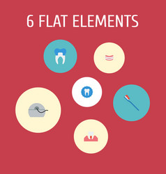set of tooth icons flat style symbols with stamp vector image