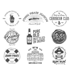 Set of vintage handcrafted emblems labels logos vector