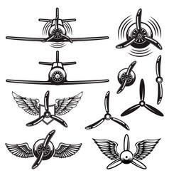Set retro airplanes propellers wings design vector