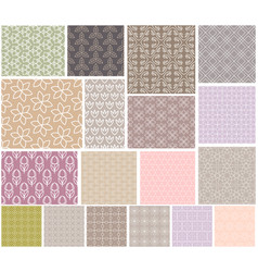 set seamless patterns with flowers natural vector image
