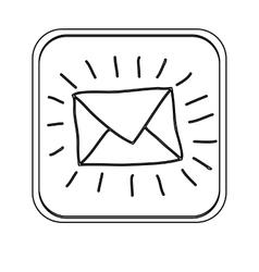 Silhouette square button envelope icon vector