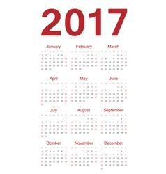 Simple red european calendar 2017 vector image