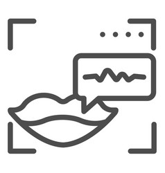 Sound recognition and lips line icon voice vector