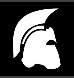 Spartan helmet the white color icon vector
