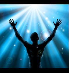 Spiritual man with arms raised up concept vector