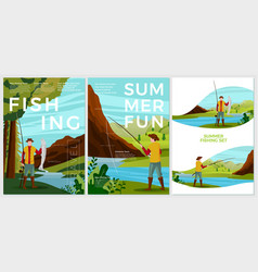 summer fishing posters set - man with rod vector image