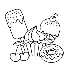 Sweet desserts icon black and white vector