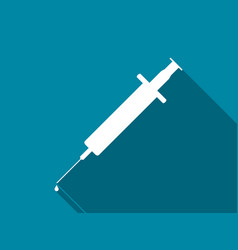 syringe with drop flat icon with long shadow vector image