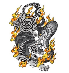 Tiger with cobra and fire tattoo graphic vector