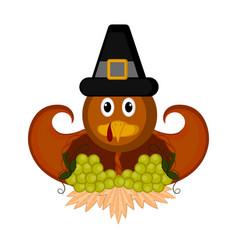 Turkey bird with cornucopias and grapes vector