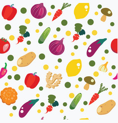 vegetables background in flat style pattern vector image