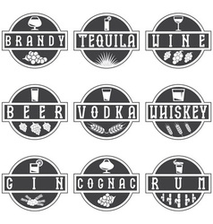 Vintage labels set of alcohol drinks vector